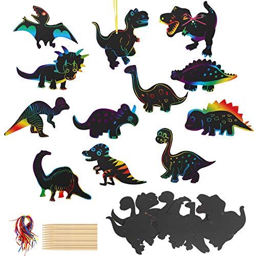 TAZEMAT 48 Stück Kratzbilder für Kinder Dinosaurier kratzbild mit 12 Stücke Kleiner Bambusstift und 48 Stücke Seil für Dinosaurier Fasching Karneval Verkleiden Kindergeburtstag Party Zubehör