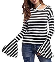 YYear Women's Fall-Winter Long Sleeve Trumpet Stripe Floral Blouse Tops T-Shirt Black US OS