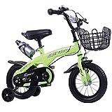 HAMHIN Biciclette per Bambini, telai in Acciaio ad Alto tenore di Carbonio, Biciclette Portatili per Ragazzi e Ragazze,Verde,16 Inches
