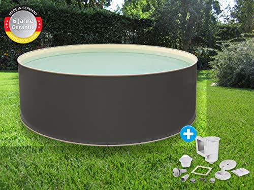 Paradies Pool Edition grau Einzelbecken rund, 400x120cm (Ø x H), Stahlwandbecken grau, Poolplane in Sand 0,6mm, Handlauf grau, inkl. Skimmer-Set, Swimmingpool, Menge: 1 Stück