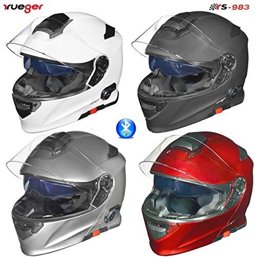 RS-983 Bluetooth Klapphelm Motorradhelm Conzept Motorrad Modular Helm rueger, Größe:XL (61-62), Farbe:Schwarz Matt