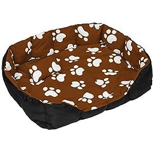 TecTake Lit douillet pour chiens panier corbeille couchage XXL noir/brun