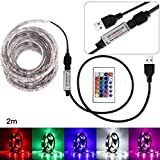 ALISAM 50-200 CM USB LED Strip Light TV Back Lamp 5050RGB Colour Changing LED Strip Lights Kit+24 Keys Remote Control,String Light for TV Lighting Decoration Home Kitchen Cabinet Lighting (200CM)