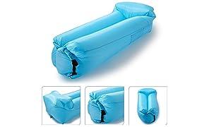 Icefox Wasserdichtes Luftsofa, Transportabler Air Lounger mit Tragebeutel, Zum Schlafen im Freien, im Innenbereich, Aufblasbarer Sitzsack ( Blau)