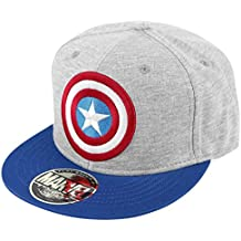 Capitán América Shield Logo Snapback Cap gris Azul Azul Marino 59d7273749f