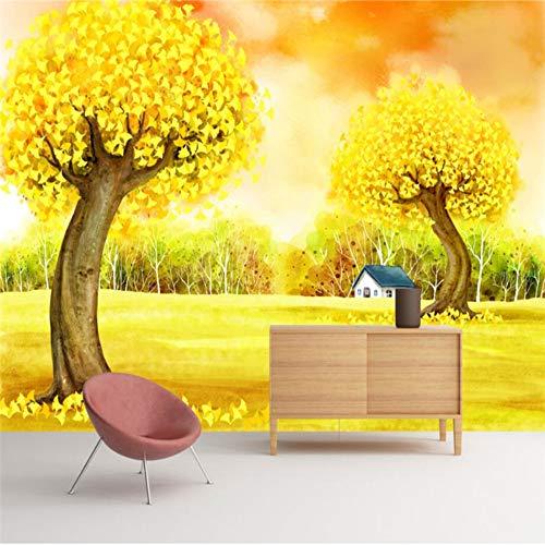 Benutzerdefinierte Wallpaper Gelb Herbst Baum Handgemalte Ginkgo Baum Tv Hintergrund Wand Tapete Dekoration, 300 × 210 Cm