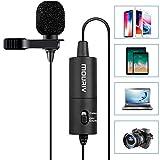 mouriv Lavalier profesional micrófono de solapa omnidireccional Micrófono con Easy Clip On sistema perfecto para grabación de vídeo de YouTube/ENTREVISTA/Conferencia/Podcast/voz/iPhone de dictado