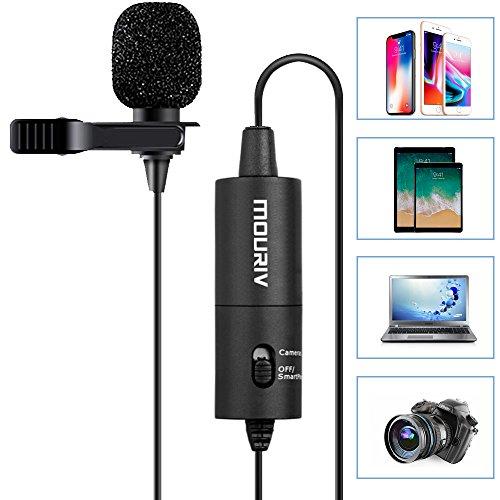 Lavalier Mikrofon, Mouriv CM201 Omnidirektionale Kondensator Aufnahme-Mikrofone für Canon Nikon Sony iPhone 8 8 plus 7 7 plus 6 6er Plus DSLR Camcorder Audio Recorder Youtube Podcast Interview Video