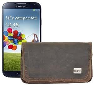 Original MTT Quertasche für / Samsung Galaxy S4 i9500 (i9505 LTE Version) / Horizontal Tasche Ledertasche Handytasche Etui mit Clip und Sicherheitsschlaufe* in antik-sand-braun