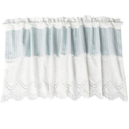 Römischer Vorhang Tüll Blau und Weiß Gestreift Pure weiß Bestickt Gaze Kaffee Vorhang Küche kurz Vorhang Halbschatten Vorhang klein für Home Dekoration Rod Pocket, 1pc(130x53 cm) -