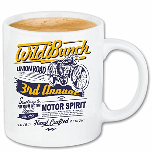 Reifen-Markt Kaffeetasse WILD Bunch Union Road Oldtimer BIKERSHIRT Motorrad Chopper Gothic Motorcycle Skull Motorradclub Bike Route 66 Keramik 330 ml in Weiß