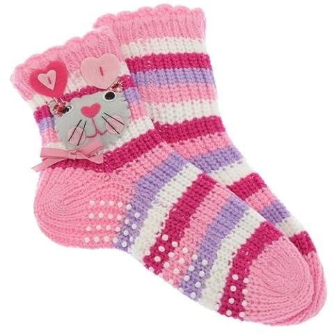 Chaussettes-chaussons antidérapantes (1 paire) - Fille (EUR 31-36 (8-12 ans)) (Rose/Pourpre)