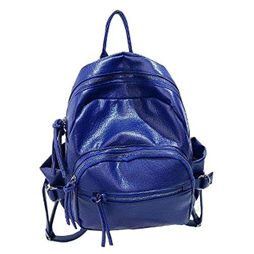 Gaorui Damen PU Leder Rucksack Schultertasche Reisentasche Schwarz Rosa Blau Blau