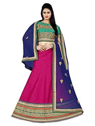 Lehenga (Vastrang\'s Beautiful Pink & Navy Blue Color Designer Embroidered Lehenga Choli for Women)