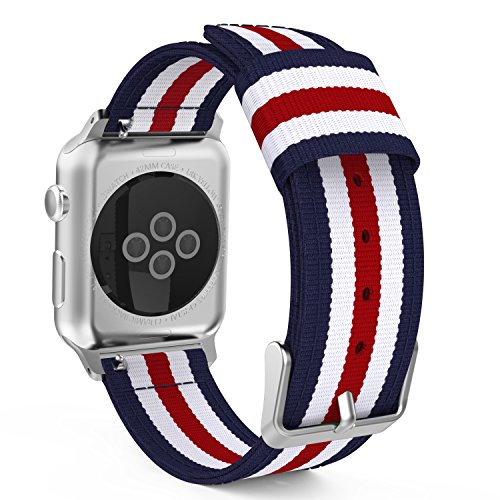MoKo Armband für Apple Watch Series 1 / 2 42mm, Nylon Strick Sportarmband Uhrenarmband Uhr Erstatzband mit Schließe für Apple Watch Sportuhr 42mm 2016 & 2015, Armbandlänge 138mm - 205mm, Blau/Rot/Weiß