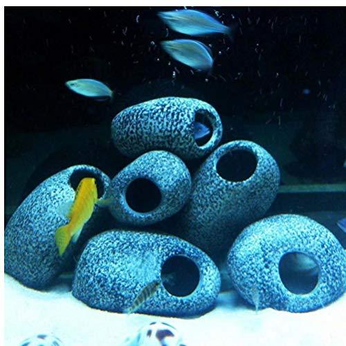 Zonster 1 PCS Cichlid Stein Aquarium Teich Ornament Dekoration Garnelen Zucht Felsenhöhle Keramik Steine   Akvaryum (Cichlid Steine)
