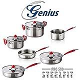 Genius - Steelfit Edelstahl Kochtopf-Pfannen Set mit Leifheit Pfannenwender 11-tlg.