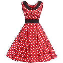 VKStar® Vestido retro para mujer, años 50 y 60, para verano, sin mangas, vestido de noche de estilo rockabilly rojo M