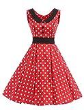 VKStar® Retro Kleider Damen 50er 60er Vintage Kleider Sommer ärmellos Rockabilly Abendkleid Rot S