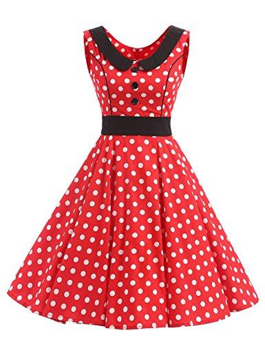 VKStar® Retro Kleider Damen 50er 60er Vintage Kleider sommer ärmellos Rockabilly Abendkleid Rot (Frauen 60er)