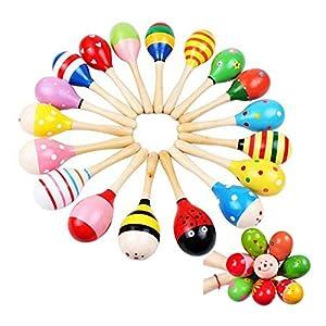 PIXNOR-Maracas-sonajero-coctelera-Musical-juguetes-de-madera-para-nios-10-pcs-patrn-de-Color-al-azar