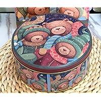 Preisvergleich für Gperw Einzigartiges Design Medium Runde Weihnachtsbären Serie Pralinenschachtel Weißblech Keksdose (M)