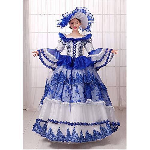 QAQBDBCKL Royal Blue & White Karneval Venedig Spitze Kleid Mit Hut Cosplay Mittelalterlichen Kleid Renaissance-Kleid Königin Victoria Belle Ball (Blue Hosenträger Royal)
