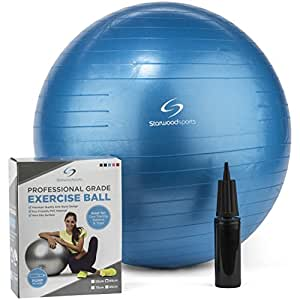 Exercise Ball – Yoga Swiss Ball with Hand Pump – Gym Quality Fitness Ball for Women and Men – (Blue - 65 cm)