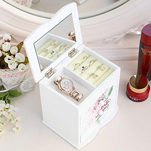 BANISH Schmuckkästchen Drucken Woody Vier Schichten Schublade Mit einem Spiegel Schmuck Aufbewahrungsbox , 1