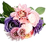 MARRYME Künstliche Seide Georginen Rosen Blumen-Bouquet Kunstblumen Hochzeit Dekor Braut Strauß Lila & Rosa
