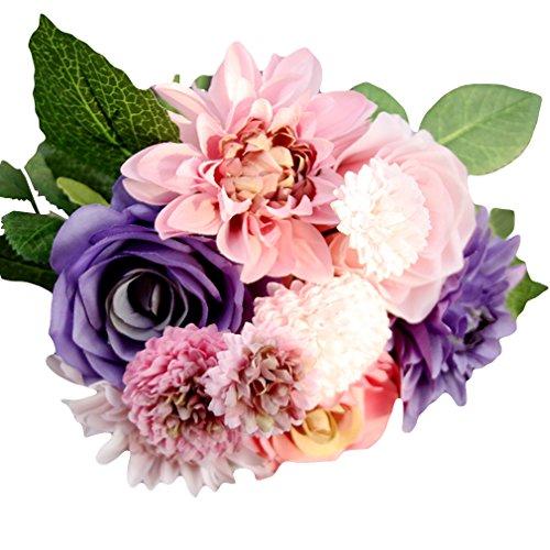 MARRYME Künstliche Seide Georginen Rosen Blumen-Bouquet Kunstblumen Hochzeit Dekor Braut Strauß Lila & Rosa Rosa Strauß