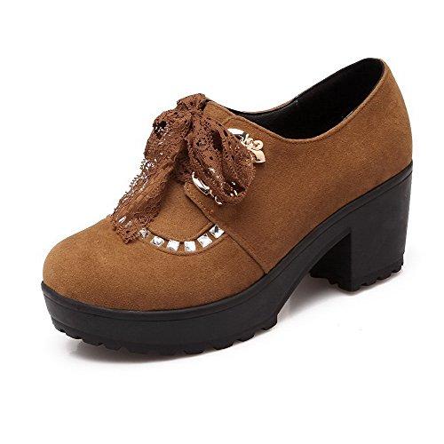 VogueZone009 Femme à Talon Correct Dépolissement Couleur Unie Lacet Rond Chaussures Légeres Jaune