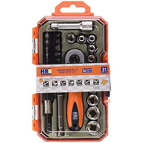 Alyco 192401 - Juego de llaves de vaso HR High Resistance 1/4 de 31 piezas en maletin plastico