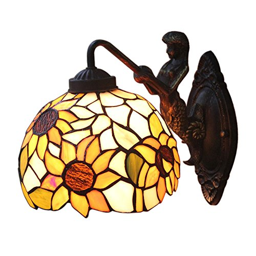 AIFUDE Moderne unbedeutende Pastoral 12-Zoll-Tiffany-Wand-Lampe Kreative Glasmalerei Sunflower Design Spiegel-Frontleuchten Gebogene Lampe Hallen-Lampe