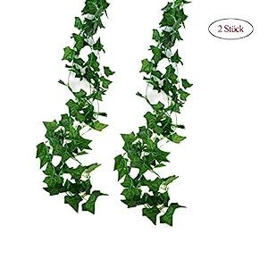 Jandrun 2 Stück Efeugirlande Künstlich Hängende Rebe 2.5M, 56 Stücke Größen Blätter Efeu Efeuranke Kunstblumen für…