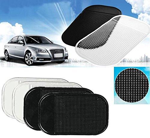 EJBOTH Auto Antirutschmatten, 4 x Car Holder Adhesive Mat [2 Black + 2 Transparent] Bereich Anti-Rutsch tragbare Armaturenbrett Rutsch-Matten klebrig Pad für Handy, Elektronische