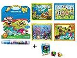 KENROLL Malbücher, Wiederverwendbare Magic Water Book Zeichenblock mit nachfüllbarem Wasser Pen mit 1 Stück Magic Cube für Kinder Kleinkinder (Style2(Tierisches Thema))
