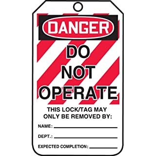 Accuform Signs MLT400CTP Lockout Tag, Legend DANGER DO NOT OPERATE, 5.75