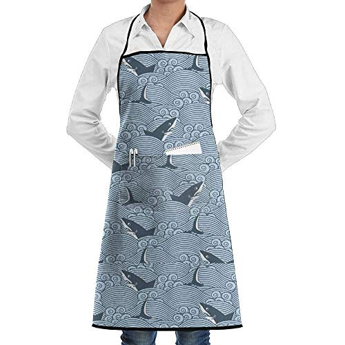 rwwrewre Kitchen Bib Apron Infected Waters of The Shark Adjustable for Cooking Baking Kitchen Restaurant Crafting BBQ Unisex