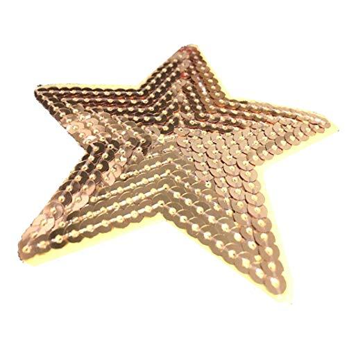 Confezione da 5 toppe a forma di stella ricamate con paillettes, applicabile con cucitura o ferro da stiro Gold