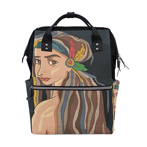 Mumien-Tasche, Wickeltasche, größere Kapazität, Baby-Wickeltasche, Frauen-Haar, multifunktional, im Boho-Stil