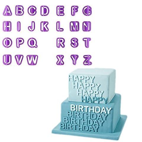 Chinatera 40Pcs Alphabet Nombre Lettre Fondant Kit de décoration pour