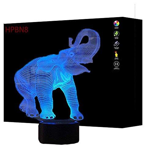 HPBN8 3D Elefant Illusions LED Lampen Tolle 7 Farbwechsel Acryl berühren Tabelle Schreibtisch-Nacht licht mit USB-Kabel für Kinder Schlafzimmer Geburtstagsgeschenke Geschenk