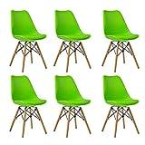 Zcxbhd Set di 6 Sedia Pranzo, Stile Eiffel Moderne Design, Faggio Wooden Legs con Imbottitura Imbottita PU Posto a Sedere Contemporaneo per Office Lounge Cucina (Colore : Verde)