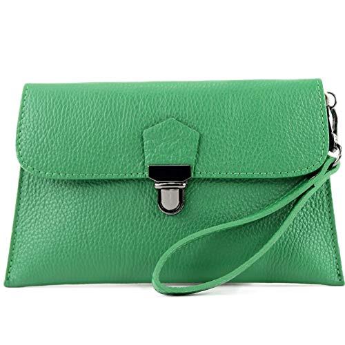 modamoda de - T190 - ital. Leder Clutch/Handgelenktasche mit Kette, Farbe:Blattgrün - Grün Leder-clutch