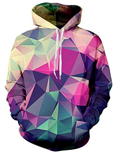 Leapparel Hip Hop Lustige Hoodie für Herren Jungen Geometric 3D Grafik All-over Print Pullover mit Tunnelzug und Große Kängurutasche und Fleece-Innenfutter (Hip Hoodies Hop)