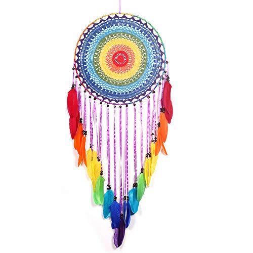 EasyBravo Atrapasuenos Grande de Bohemio Arcoiris con Plumas Multicolor macrame para Colgar en la Pared Decoraciones para el hogar 115 cm de Largo