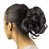 Lux Accessoires similicuir noir extension de cheveux pom-pom girl Queue de cheval Pince à cheveux