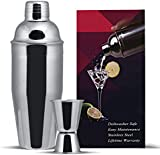 GWHOLE 3 pcs Cocktail Shaker Set 750 ml with Built-in Strainer, a Free Double Measurer Jigger & Recipes (e-book), Lifetime Warranty