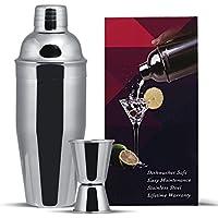 GWHOLE Kit Shaker à Cocktail en Inox 750ml avec Filtre Interne, Doseur à Double Mesure (1/2 et 1 oz)